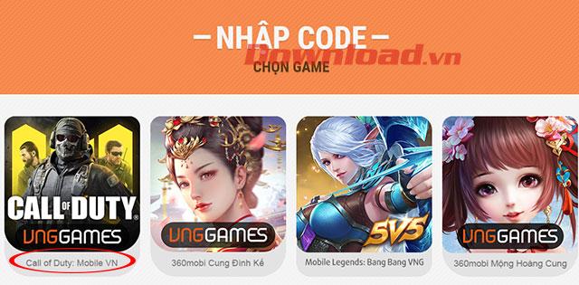 Trang nhập mã quà tặng game VNG