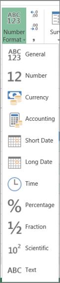Định dạng số có sẵn trên Excel Online