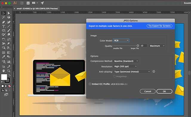 Đối với các hình cần in, bạn nên lưu file AI dưới dạng JPEG có độ phân giải cao