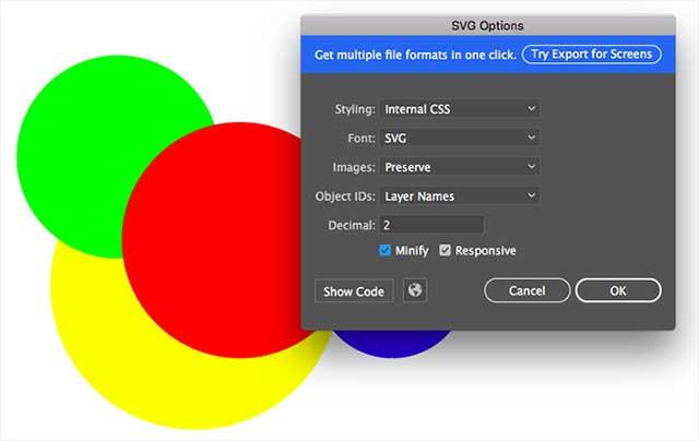 Sử dụng định dạng SVG để chỉnh sửa dễ dàng hơn
