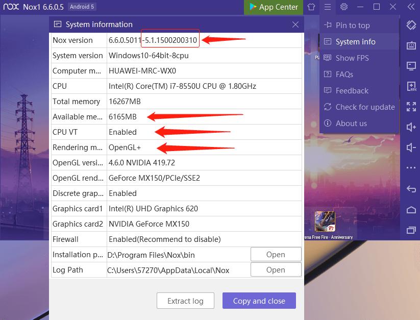 Thông tin hệ thống NoxPlayer