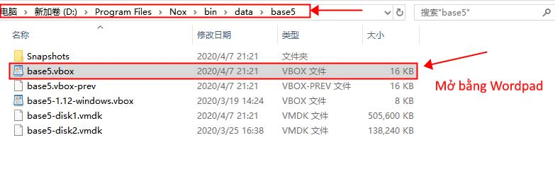 Mở file base NoxPlayer bằng WorPad
