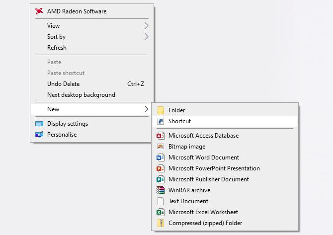 Lưu file dưới dạng shortcut trên desktop