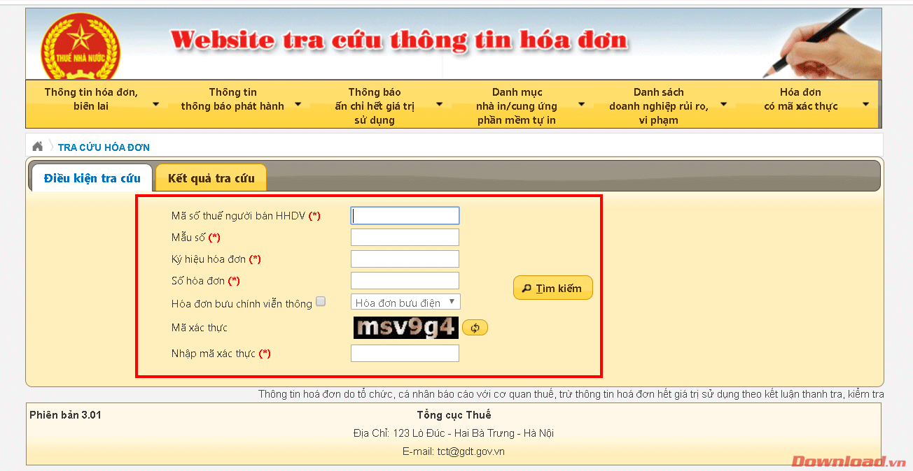 Thông tin hóa đơn