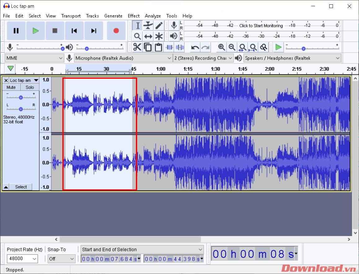 Chọn đoạn âm thanh