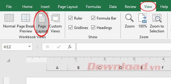 Đánh số trang trên Excel