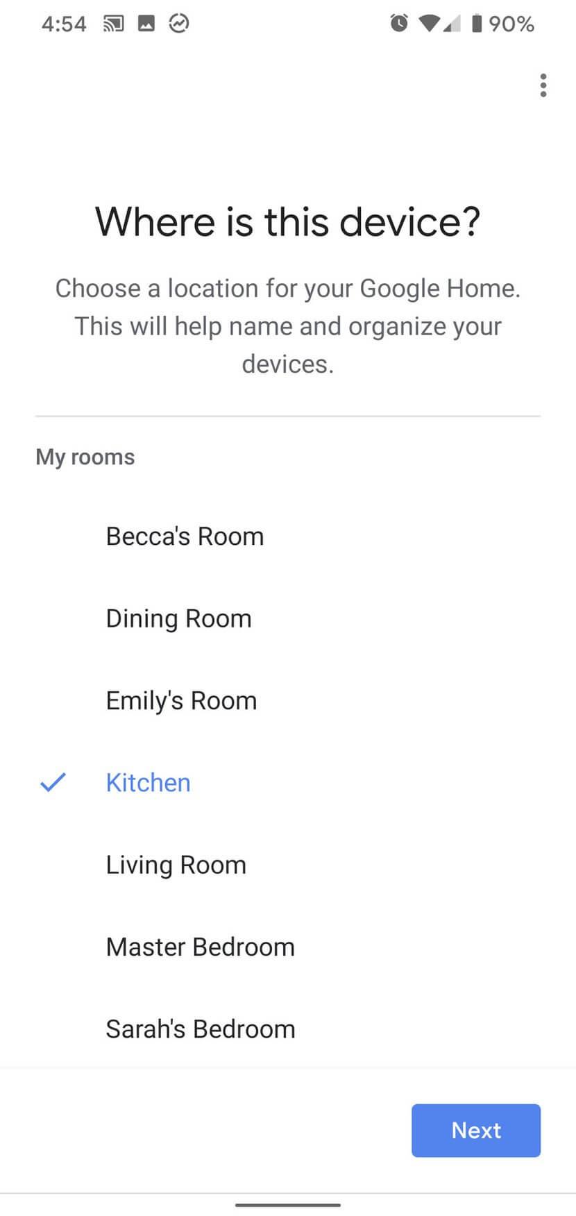 Chọn phòng đặt loa Google Home