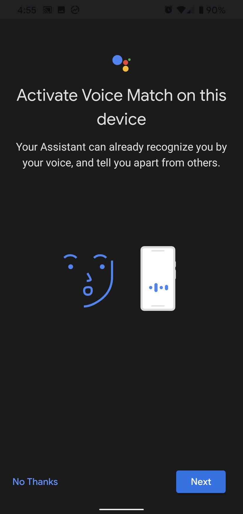 Kích hoạt Voice Match trên thiết bị