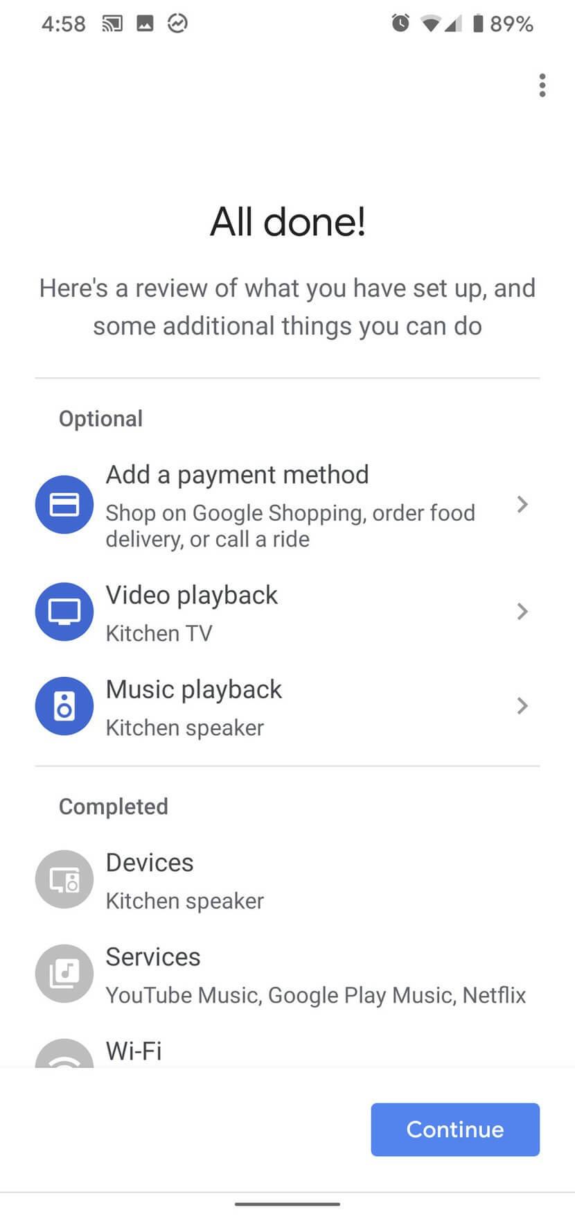Hoàn tất thiết lập Google Home