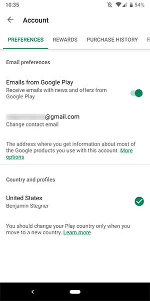 Trượt menu bên trái và chọn Account