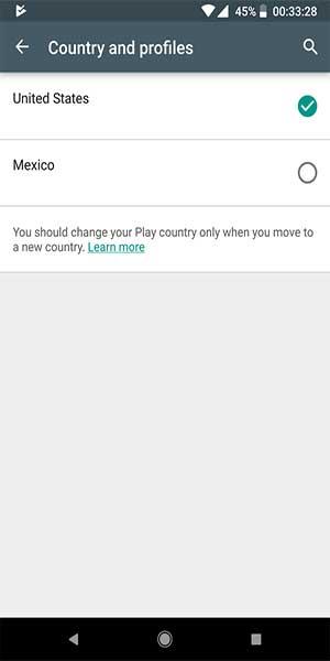 Nhấn vào danh mục Country và chọn quốc gia mới