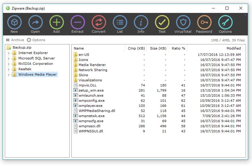 Phần mềm giải nén Windows 10
