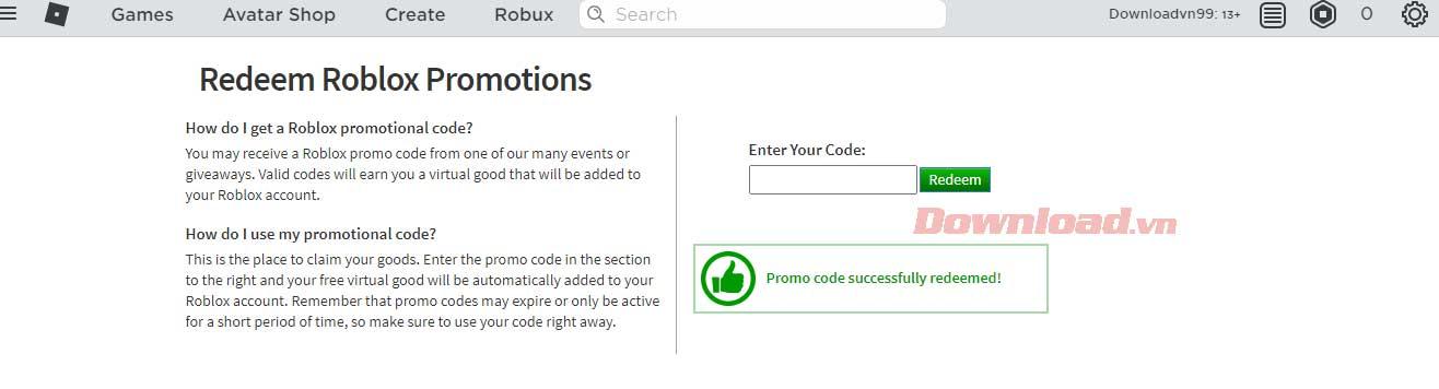 Vật phẩm nhận được từ mã Roblox