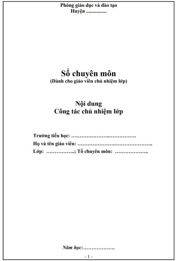 Mẫu bìa sổ chủ nhiệm