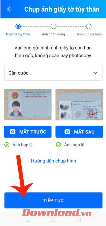Chụp ảnh CMTND hoặc thẻ CCCD