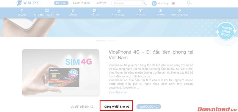 Đăng ký đổi SIM 4G