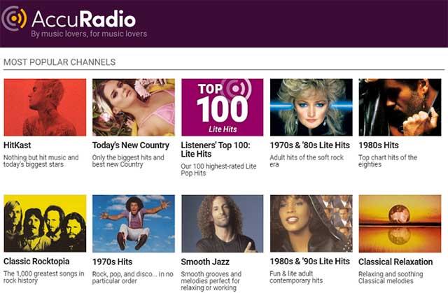 AccuRadio là dịch vụ phát nhạc online được quản lý bởi con người