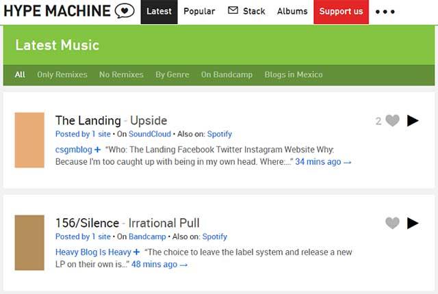 Hype Machine là dịch vụ nghe nhạc tổng hợp nội dung từ các blog âm nhạc