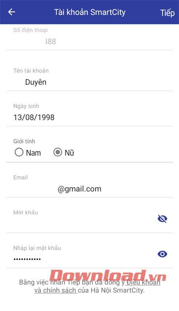 Điền thông tin cá nhân và thiết lập mật khẩu