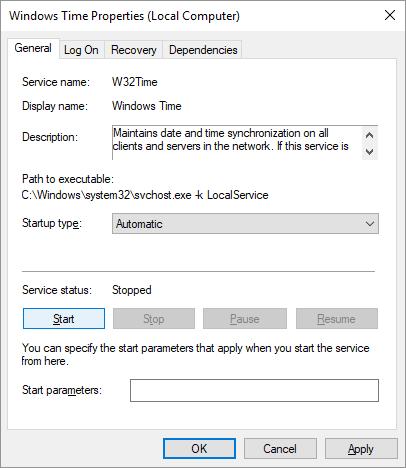Thuộc tính Windows Time