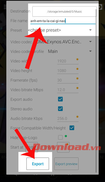 Đặt tên cho video và ấn nút Export
