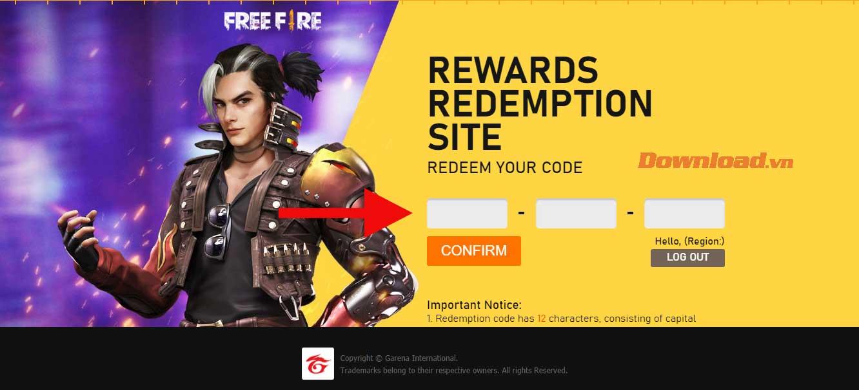 Nhập redeem code Free Fire