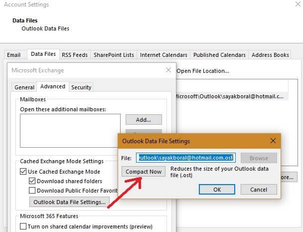 Chỉnh kích thước file dữ liệu Outlook
