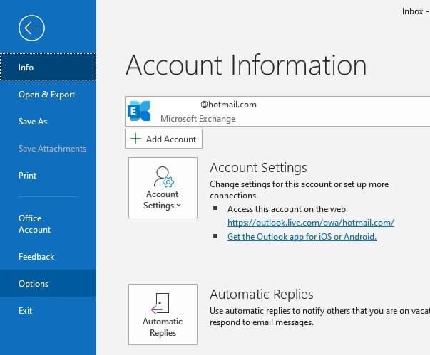 Tới phần tùy chọn trong Outlook