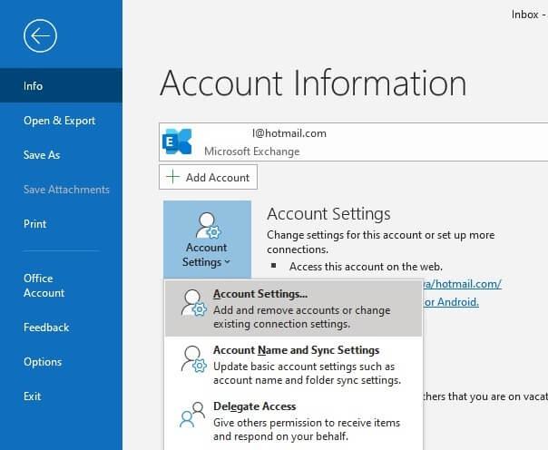 Nhập thông tin tài khoản Microsoft Outlook