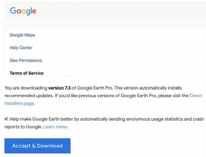 Đồng ý thỏa thuận sử dụng Google Earth Pro