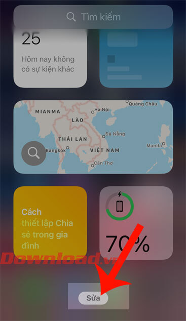Nhấn nút Sửa tại màn hình tiện ích