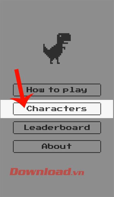 Nhấn vào mục Characters