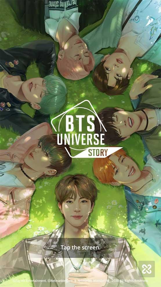 Giao diện chào mừng game BTS Universe Story