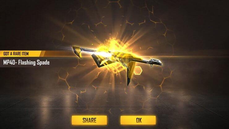 Skin MP40 bích vàng trong Free Fire