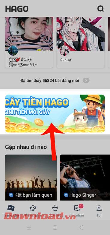Nhấn vào quảng cáo Cây tiền hago