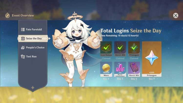 Phần thưởng theo ngày trong Genshin Impact