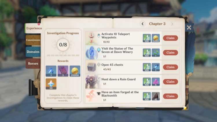 Phần thưởng trải nghiệm game Genshin Impact