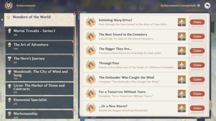 Phần thưởng thành tựu khi chơi game Genshin Impact
