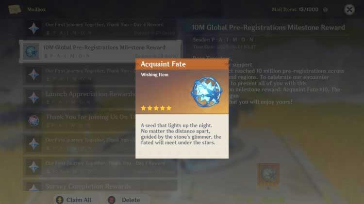 Phần thưởng qua mail trong game Genshin Impact