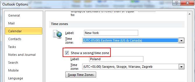 Outlook hiện 2 múi giờ cùng lúc