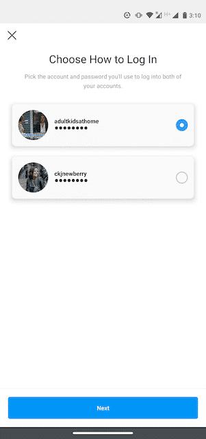 Chọn tài khoản muốn đăng nhập