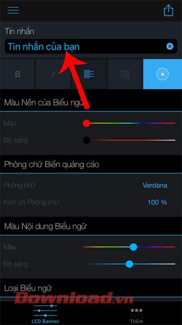 Nhập nội dung dòng chữ LED