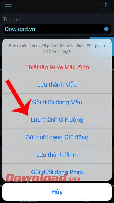 Nhấn vào mục Lưu thành GIF động