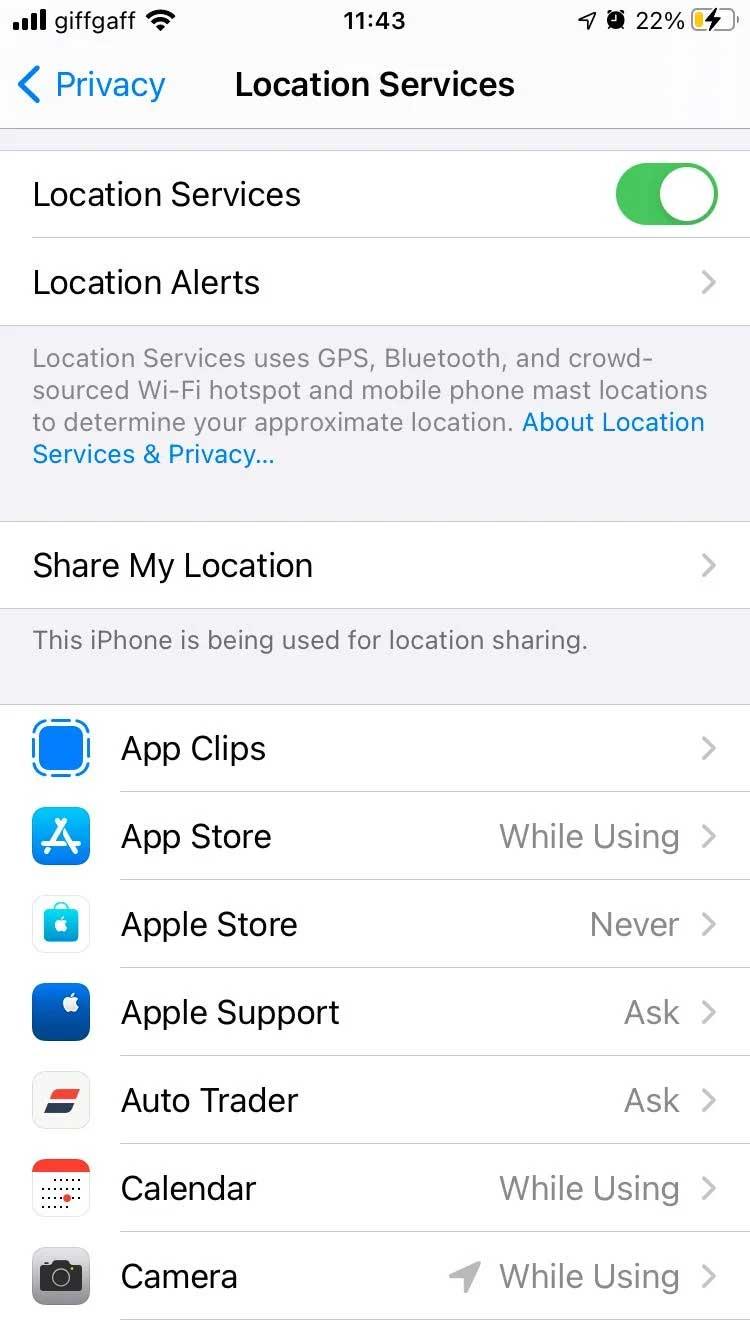 Dịch vụ vị trí trên iPhone