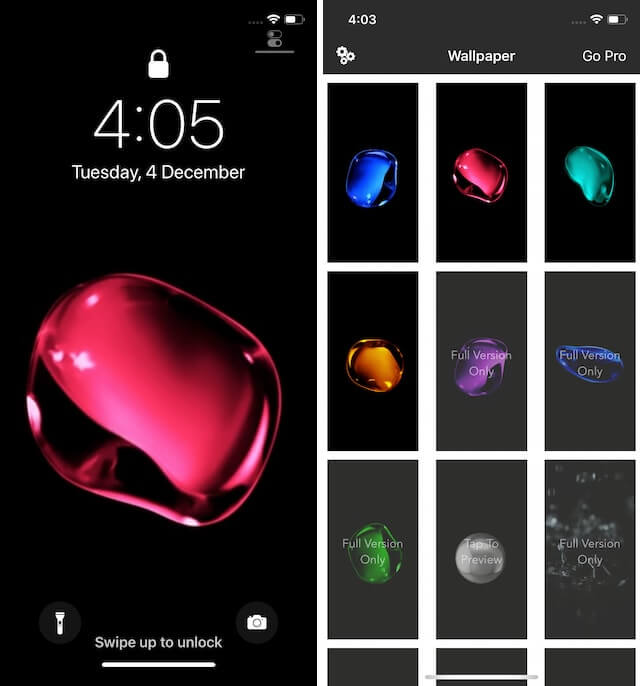 App hình nền động Black Lite – Live Wallpapers cho iOS