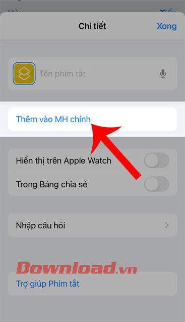 Nhấn vào mục Thêm vào màn hình chính