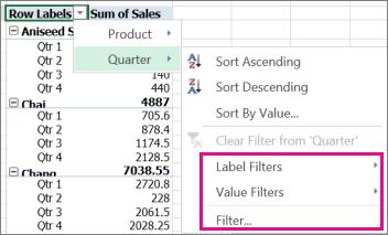 Lọc dữ liệu Excel Online