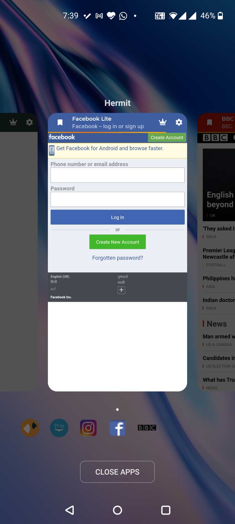 Hermit tạo app Facebook Lite