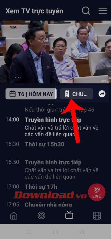 Nhấn vào biểu tượng điều khiển Tivi