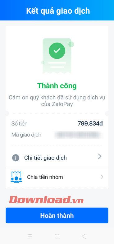 Thanh toán hóa đơn thành công